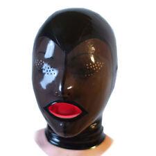 Latex Rubber Hood with Red Teeth Gag Mesh Eyes