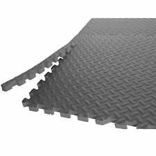 6 Piece Indoor Gym Mat Durable Gray Puzzle Design For Weightlifting Home Gym