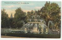 Forsyth Park Fountain Savannah GA 1911 Vintage Postcard Georgia Old Used Back