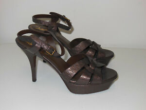 YSL YVES SAINT LAURENT BROWN EMBOSSED LEATHER TRIBUTE PLATFORM SANDALS SIZE 38.5