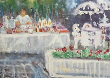 Vintage oil painting impressionist composition signed