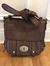 Fossil Maddox Walnut Brown Leather CrossBody Satchel Purse Messenger Briefcase