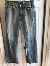 Women's Lucky Brand Dungarees distressed Jeans Blue Rips Denim RARE Size 10 / 30