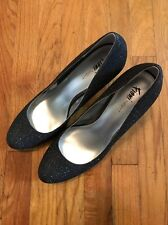 Fioni Night women Evening black heels with silver threads size 13 Womens