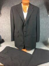 * Ralph Lauren Purple Label * Gray Windowpane 2 Piece Wool Suit 44R England
