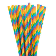 Bright Rainbow Candy Cane Striped Cake Pop Straws | Paper Party Straws
