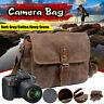 Vintage Waterproof Canvas Leather Trim DSLR SLR Shockproof Camera Messenger Bag