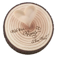 Rustic Tree Trunk Wedding Ring Holder Ring Pillow Alternative 'With These Rings'
