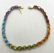 14K YELLOW GOLD MULTI COLOR STONES BRACELET