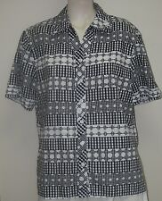Women's Clothing BLOUSE/ Alia Petite Black/white short sleeve collar Button Up