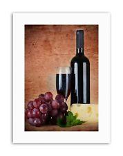 Vin rouge verre FROMAGE raisin Cuisine Photo Poster Photo Toile Art Prints