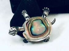 Vtg. Mother Of Pearl & Silver Tone Turtle/Tortoise Brooch