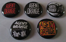 """AGENT ORANGE 1"""" BUTTON LOT 5 badges pin punk angry somoans circle jerks tsol gbh"""