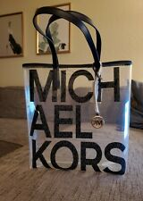 MICHAEL KORS Womens MK The Michael Navy Large Graphic Logo Print Clear Tote Bag