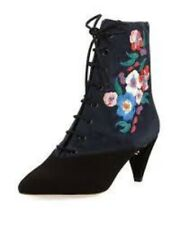 Tory Burch Size 8.5 M Cassidy Embroidered Lace-Up Bootie, Black/Battleship Blue