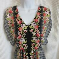 Candie's sz Small Keyhole Back Dress Floral & Plaid Black White Coral Green