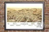 Vintage Durham, NC Map 1891 - Historic North Carolina Art - Victorian Industrial