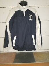 Detroit Tigers Pullover Windbreaker Men's Med Jacket Blue and White 1/4 Zip