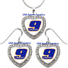 #9 Chase Elliott 925 Necklace or Earrings or Set Team Heart With Rhinestones