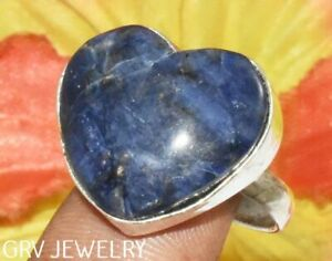 """Heart Shape Sodalite Gemstone Ring 925 Silver Plated Us Size 8"""" R003-F106"""