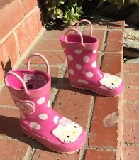 $40 Western Chief Hello Kitty Cutie Dot Rain Boot Pink/white Rubber Toddler 6 US