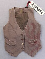 Z-BRAND AGED Men PURPLE GRAY FLORAL EMBROIDERED LINEN DISTRESSED VEST NWT S $290