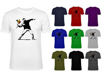 Mens Banksy Flower Thrower Graffiti Art T-shirt NEW S-XXL