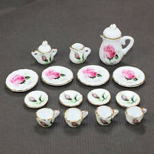 15pcs Pink Rose Chinese Porcelain Dollhouse Miniature Tea pot Cup Set Vintage