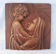 Ancienne icone religieuse en platre vierge et l'enfant VINHO  french antique