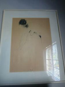 Vintage Original Female Nude Charcoal Figural Drawing SIGNED