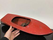 Vintage Racing Rc Remote Control Painted Metal Boat - For Parts Or Repair