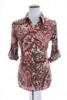 Chicos Womens Silky Button Up Front Shirt Top Paisley Print Sz 0 Small 4