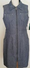 Harve Benard striped denim sleeveless zip dress.  Size 12