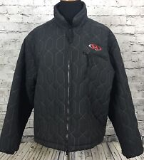 MARKER Mens Black Quilted Full Zip Embroidered Logo Jacket Size XS