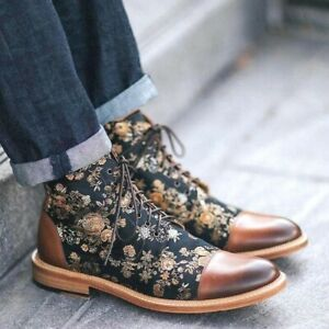 Men Leather High Top Ankle Flat Boots Classic Design Lace Up Casual Formal Shoes