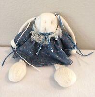 "Vintage 11"" Handmade Floppy Ears CLOTH Sock Bunny Rabbit Doll Dressed Country"