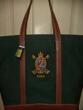 RALPH LAUREN #2 TOTEBAG PONY POLO LUGGAGE CREST LEATHER VINTAGE STYLE BAG purse