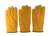 ***New***  (3) Mens All Cabretta Gold / Yellow Leather Golf Gloves (Right Hand)