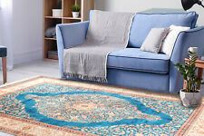Silk Touch Turkish Area Rug, Non Skid, Washable Rug 3x5 Royal Blue Medallion