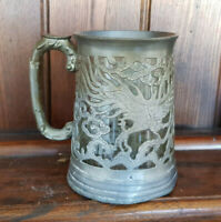 Vintage Pierced Metalware and Glass Tankard - SOLD AS SEEN
