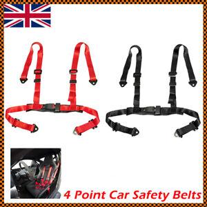 2X 4 Point Car Racing Bucket Seat Belt Harness Adjustable Universal Design MO