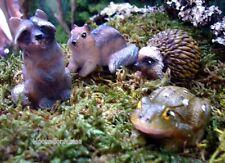 Toad  Raccoon Ground Squirrel Animals w pick set 4 Miniature Garden Hedgehog