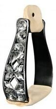 Showman BLACK Aluminum Stirrups w/ Silver Engraving & Cut Out Diamonds! NEW TACK