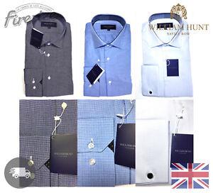 William Hunt Savile Row Men's Luxury Shirt Classic Cut Away Collar 100% Cotton