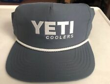 Authentic YETI Coolers Traditional Logo Rope Hat Cap Gray / White New with Tags