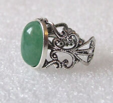 Green Aventurine Gemstone Adjustable Filigree-Style Ring L-T in Gift Box