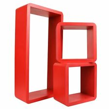 3pc Set Rectangle Floating Shelves Wall Mount Storage Book Shelf DVD CD Stand Red 32386