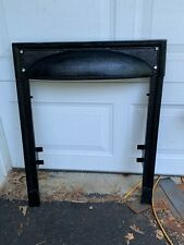 One Antique Cast Iron Three Part Fireplace Surround Hooded type, Craftsman Style