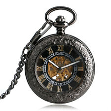 Rerto Transparent Case Engraving Automatic Mechanical Women Pocket Watch Chain