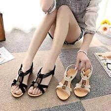 Women Boho Beads Braided Rope Sandals Shoes Summer Flip Flops Flat Slipper JJ